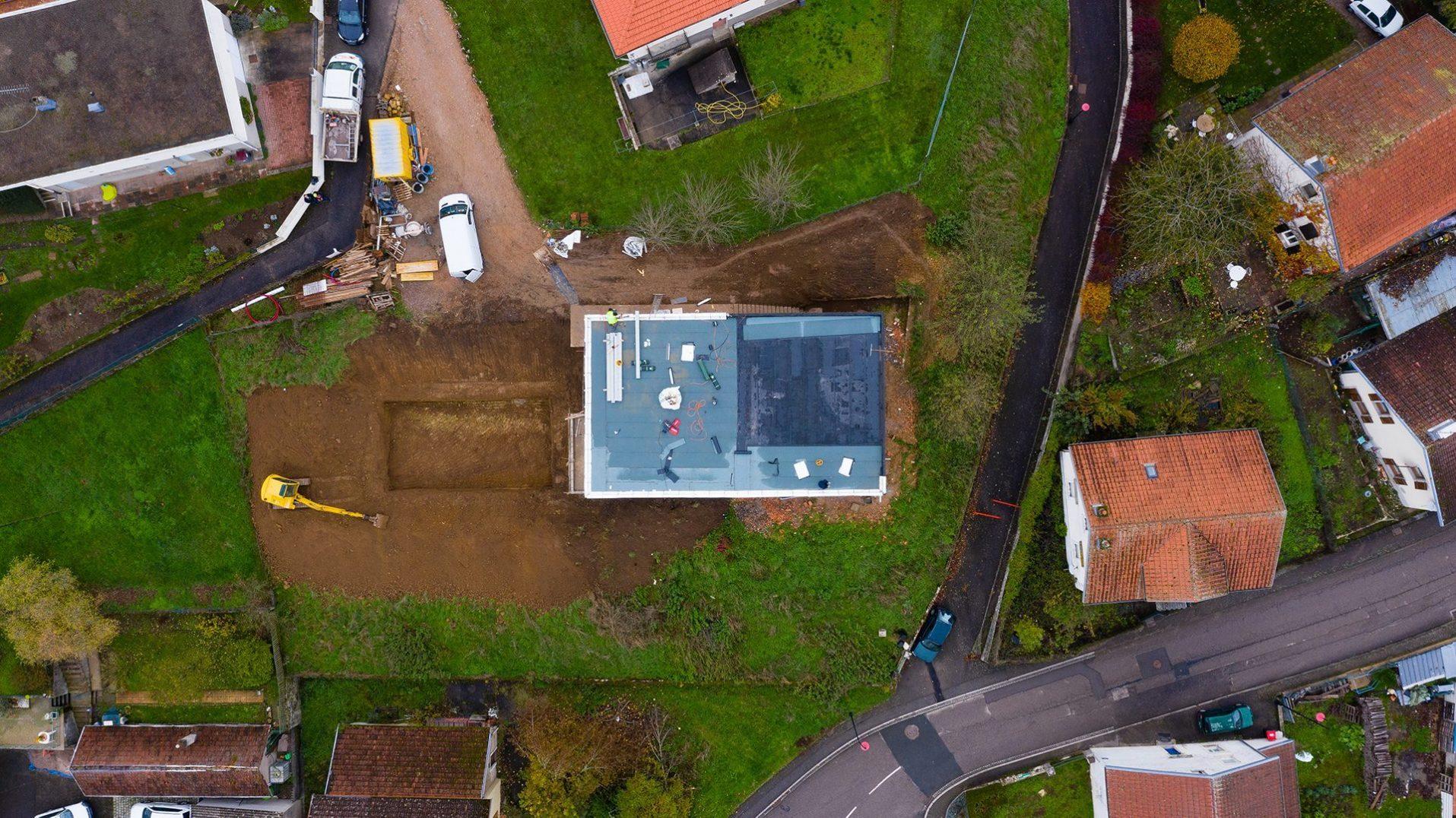 photo aérienne maison en construction réalisée par drone vosges