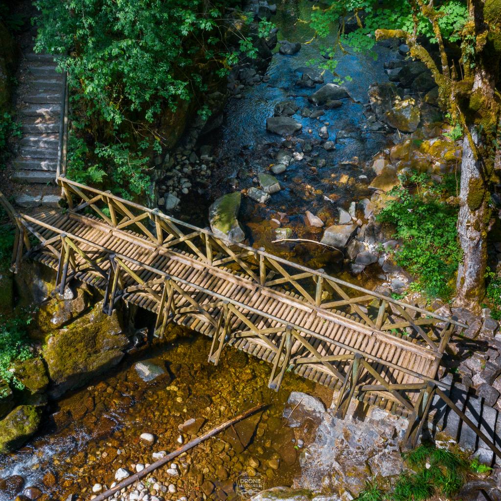 pont en bois saut du bouchot à Sapois par Drone Vosges