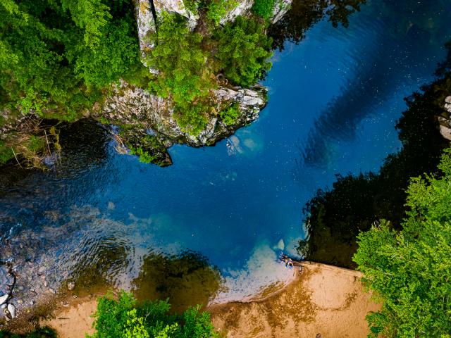 Photo aérienne des gorges de Crosery réalisée par Drone Vosges